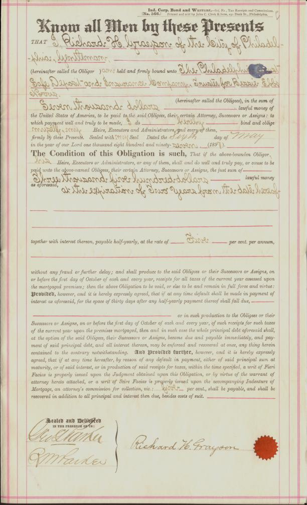 1st Page of 1897 Signature Loan Agreement